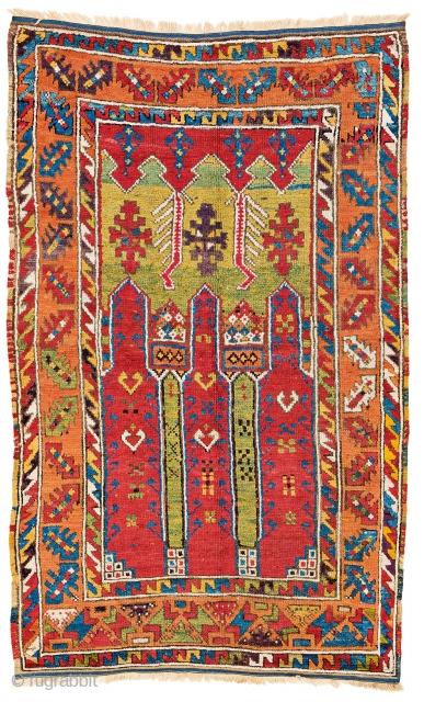 Lot 130, Cappadocian prayer rug, starting bid € 3200, Auction October 14 5pm, https://www.liveauctioneers.com/catalog/109605_fine-antique-oriental-rugs-viii/?count=all