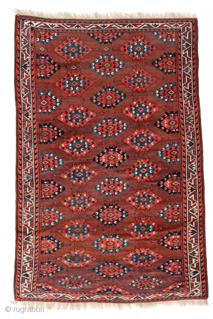 "Lot 110, Igdir Main Carpet, 250 x 162 cm (8' 2"" x 5' 4""), Turkmenistan, mid 19th century, Auction on November 2nd at 4pm, https://www.liveauctioneers.com/item/76673476_igdir-main-carpet"