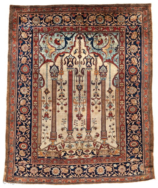 """Lot 115, Silk Heriz, 174 x 141 cm (5' 9"""" x 4' 8""""), Persia, late 19th century, Auction on November 2nd at 4pm, https://www.liveauctioneers.com/item/76673481_silk-heriz"""