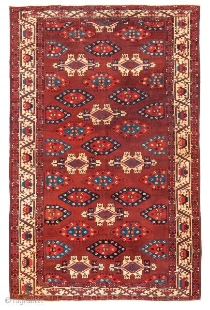 Lot 129, Yomud Multi-gul Main Carpet, Turkmenistan first half 19th century, 8 ft. 10in. x 5ft. 8in., 270 x 173 cm, Lit.: H. Sienknecht, A Turkic Heritage, The Development of Ornament on  ...