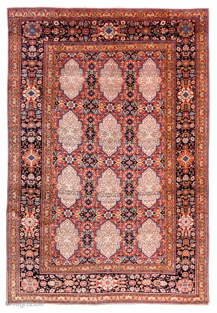 Lot 16, Kashan Mohtashem, Persia circa 1870, 10ft. 6in. x 7ft. 3in., 320 x 221 cm, Condition: excellent, Wool pile, cotton warp, cotton weft.