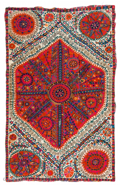 Lot 92, Large Medallion Suzani, Uzbekistan first half 19th century, 8 ft. 8in. x 5ft. 7in., 264 x 170 cm, Provenance: private collection Israel, Haifa, Lit.: compare similar piece Rippon 16.11.1991, Lot 127  ...