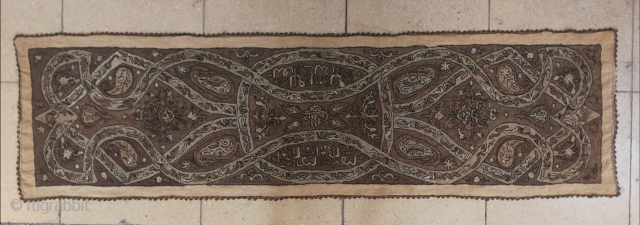 Antique Ottoman textile, 19thC embroidery, embroidered metal and yellow silk chain-stitch on cotton Size:168x46cm