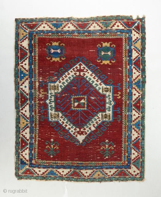 Mid 19th century Fachralo Kazak with blazing color.   Please visit our website for more rare woven art : www.bbolour.com