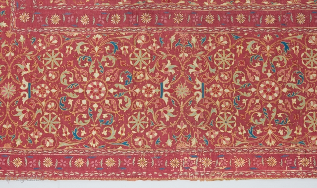 Gorgeous early Indian 17th/early 18th century textile (detail pic). silk on silk on linen.  Ask for full pic and more details.   Visit our website for more rare woven art: www.bbbolour.com