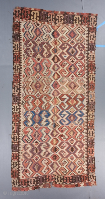 Anatolian Kilim with very good age and soft color palette. A bit tattered but pretty much complete. $600 or best offer including shipping in the US, plus shipping outside the US.   Visit  ...