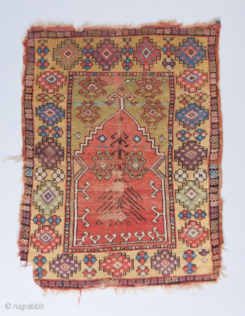 """Early 19th century Konya with superb color palette. 3'11"""" x 3'.   Visit our website for more rare woven art : www.bbolour.com"""