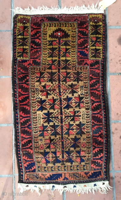 "Baluch rug . 3'8"" x 2'. All original soft silky pile ."