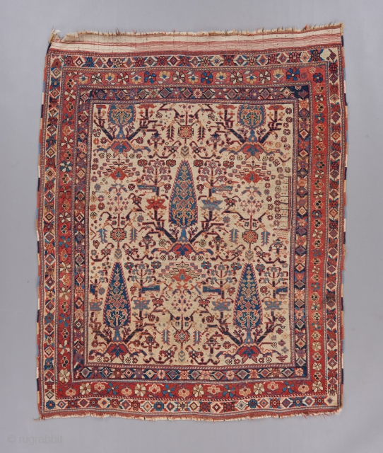 """A great early Afshar measuring 4'11"""" x 4'2"""".   Visit our website for more rare woven art : www.bbolour.com"""