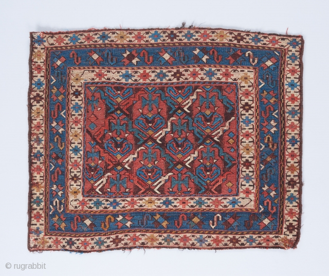 """Caucasian soumak bag with great negative/positive space interplay in the field . 1'10"""" x 1'7""""."""