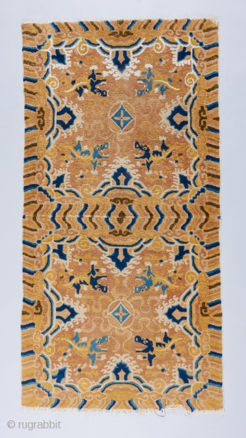 Beautiful Ningxia double square with some cotton pile and excellent condition. 1st half 19th century.