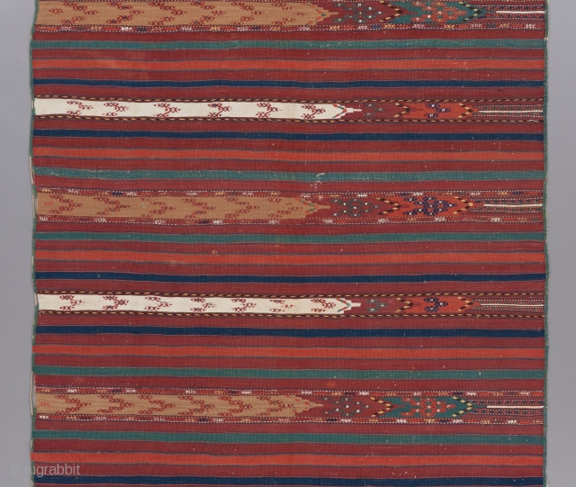 """Yomut Kilim with embroidered touches. 9' x 4'5"""".   Please visit our website for more great woven art: www.bbolour.com"""