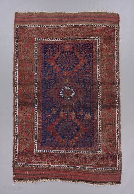 "Baluch. 6'5"" x 4'. Great field design with classic border. Good age. Possibly Timuri?"
