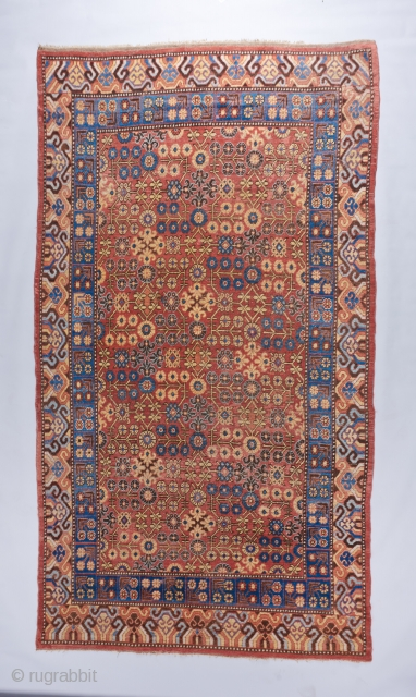 """Gorgeous early 19th century Khotan recently acquired. Great condition with some old well done repairs scattered around. Ready to go. 11'4"""" x 6'. Ask for more details.   Visit our website at :  ..."""
