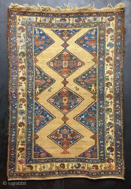 "Antique Northwest Persian rug. Size: 4'3""x6'2"". Good condition and all original. Natural and aniline dyes. Unwashed in photos, but will be washed before shipping."