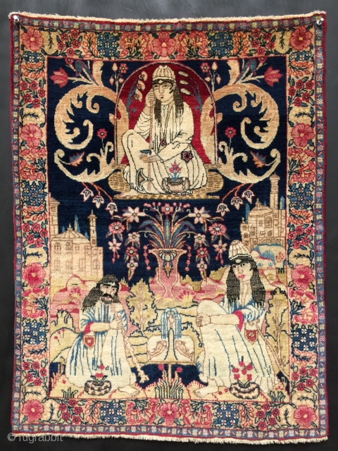 "Antique Kerman Kirman fine pictorial panel rug. 19th century. Size 2'1"" x 2'9"". Immaculate condition. Excellent dyes. More photos and information on asking. Satisfaction guaranteed. Thanks for looking."