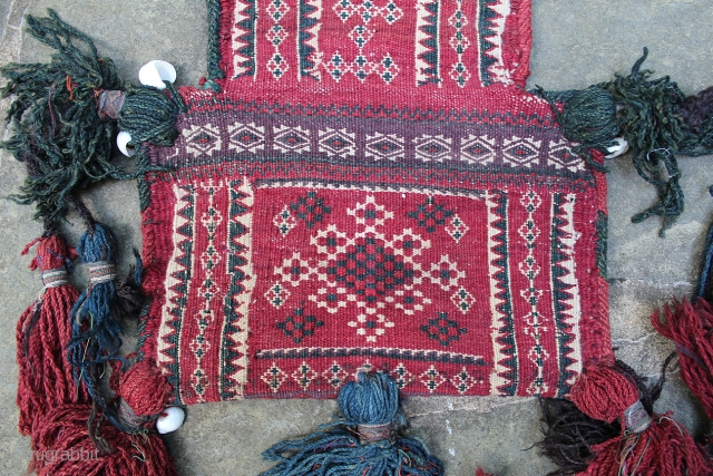 Antique Baluch Salt Bag. 20 x 12  inches (bag). Excellent condition, double-sided. Beautiful tassels.  www.banjaratextiles.com