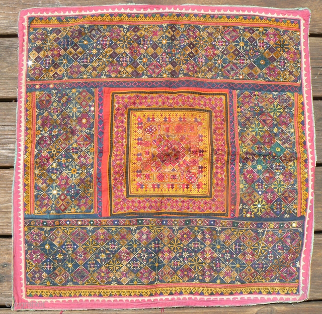 "Excellent Old Indian Embroidered Textile from the Thar Desert region in Rajasthan near Jaisalmer. This beautiful textile, known as ""thakia,""  was sewn as a pillow cover, but has never been used  ..."