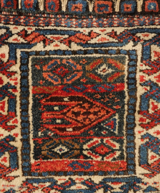 Attractive and unusual Kurdish khordjin half - bagface-  with nice natural colours including green and closing system intact.  mint condition. 45x45 cm.