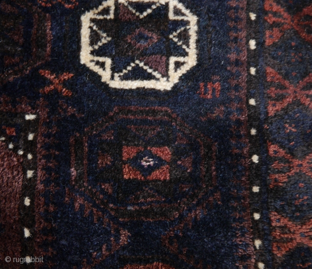 Very fine Baluch star medallion bagface in fine weave and excellent wool.