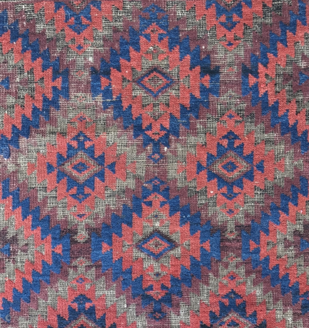 Super small old Baluch. Brown corroded to foundation, but everything else is full Pile. Great Color and Wool. 