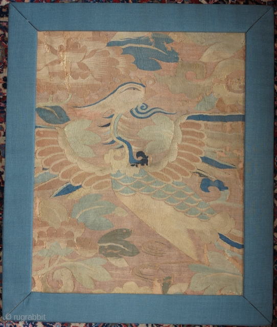 """Silk Chinese kesi fragment with a beautifully drawn phoenix. Ming dynasty, 15th/16th cen. Mounted and conserved with frame. 14""""x18"""" plus 2"""" of frame."""