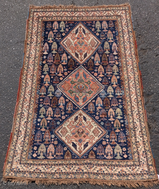 "Super soft Khamseh rug, 4'1""x5'0"""