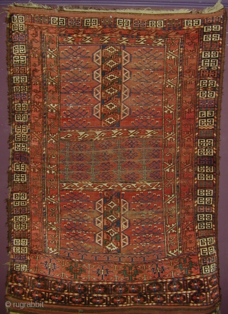 Ersari or Kizyl Ayak Ensi, Very soft wool, interesting drawing, natural colors. Field madder color seems slightly corrosive, browns are un-dyed wool. 2 chord goat hair selvedge and kilim ends are mostly  ...