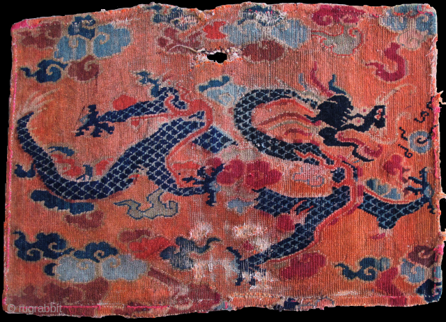Tibetan Dragon Fragment, very finely drawn with analine dyes and indigo. early 20th cen.
