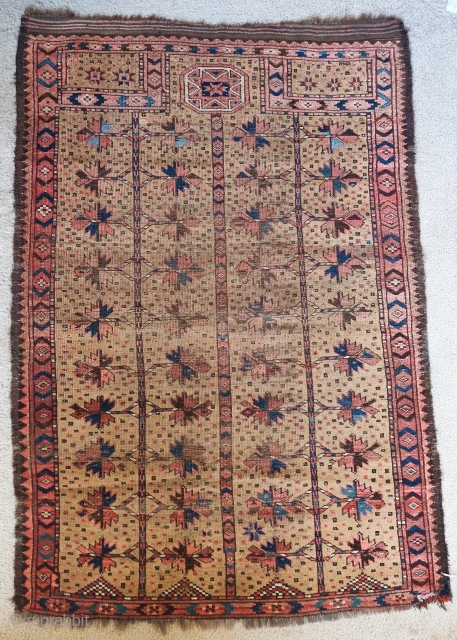 Turkmen 'Bashir' prayer rug. One from a rare camel ground group with Baluch style trees. A few leaves are drawn with blue cotton. This rug dates to the late 19th century, a  ...