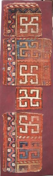 Anatolian Yatak Fragments, conserved, arranged and mounted on a stretcher. apx. 4'x1'. Lovely color and drawing.