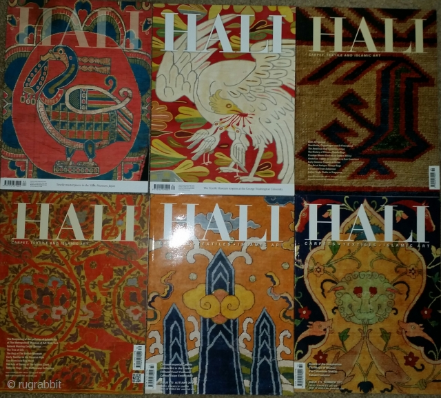 Hali Magazine, multiple back issues in great condition available from number 53 through more current issues. Excellent rug reference material. All in great condition. I'm trying to sell as many as possible  ...