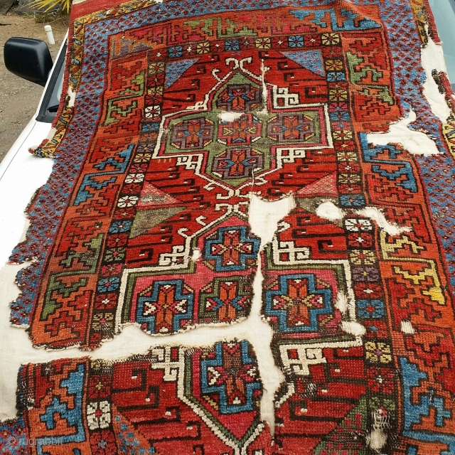 Central Anatolian long rug. Fragmented and mounted. Perhaps Karapinar or Konya. Great color and wool.