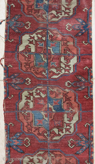 old Tekke Turkmen main carpet fragment from an early or mid century piece. A vertical strip with 10 guls representing the full vertical height of the field. Great for a repair project  ...