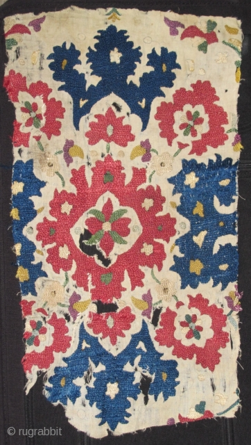 Ottoman style Algerian embroidery fragment circa 1800 or perhaps 18th century. Great color including a double dyed purple.
