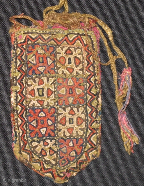 small Turkmen embroidered pouch. Probably Chodor or Yomut.