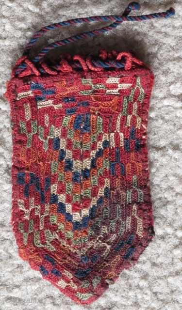 Small Turkmen Silk Pouch with what looks like the depiction of a frog in green. The back is rather nice too. Complete with original string. Stain in lower corner. My pictures do  ...