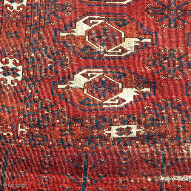 Very old, very large Kizyl Ayak chuval. Much larger than most with a great weave, floppy handle, great spacing, and rich saturated colors. a portion of the grey flatwoven back is still  ...