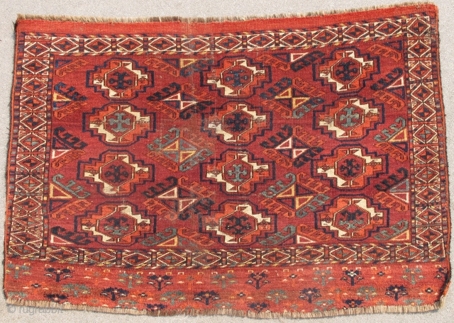 """Kizyl Ayak Chuval, several greens and prominent yellow, dyrnak gul minors, a couple of small holes that have been rewoven with kashmiring as seen from back details. size is 47""""x32"""" (120x80cm)"""