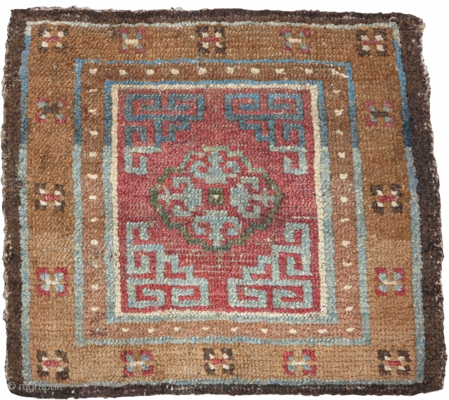 Colorful Tibetan square, an older example with great abrash.