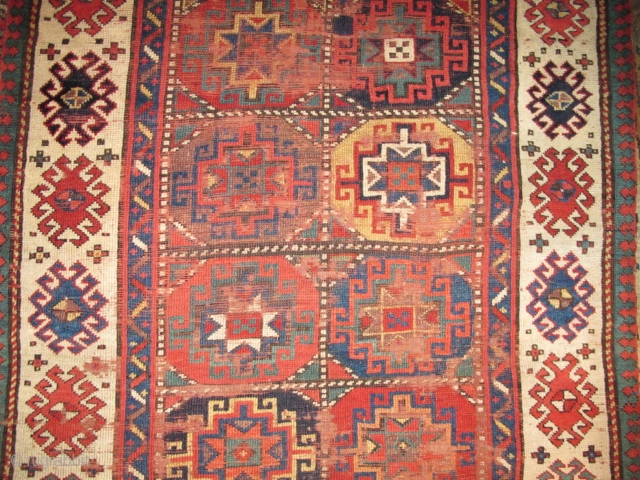 Colorful Moghan Rug with Memling guls (detail)