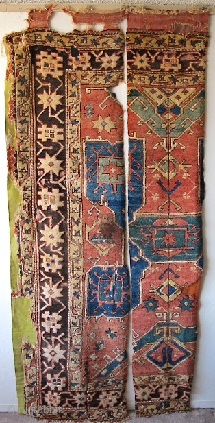 18th century Star Bergama Fragments, 2/3 of the rug, (I don't know why it was cut or where the final third is.) Several examples of this type are known. This piece has  ...