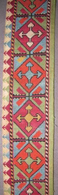 "19th century Uzbek or Lakai Needlepoint Belt with a Saryk border design. (49"" / 124cm)"