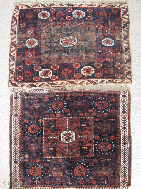 2 Baluch square middle star bags. The top piece is quite old. The bottom piece is younger but still antique.