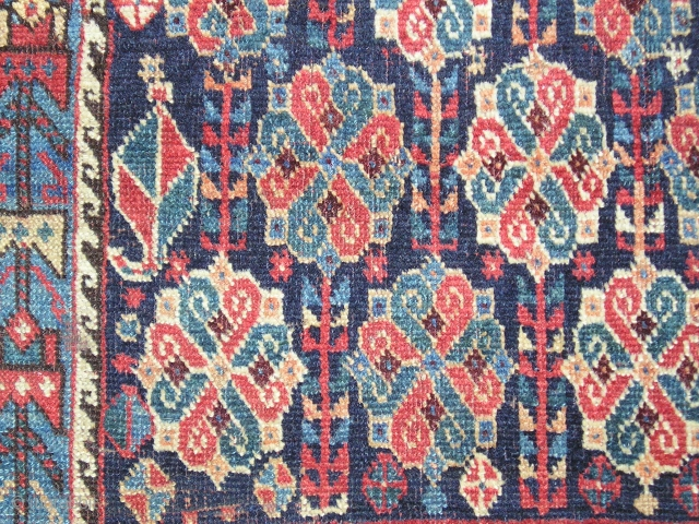 """Afshar bagface with great knot/rosette design. Very graphic with good color and good condition. ( 27"""" x 32"""")"""