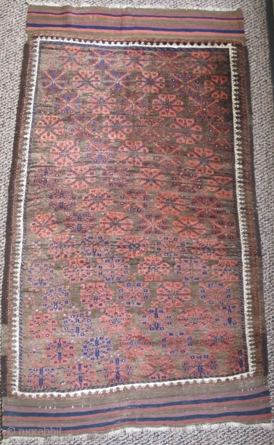 Baluch rug with super glossy soft wool. Drawn with no main border only a guard. kilim largely preserved, great condition!