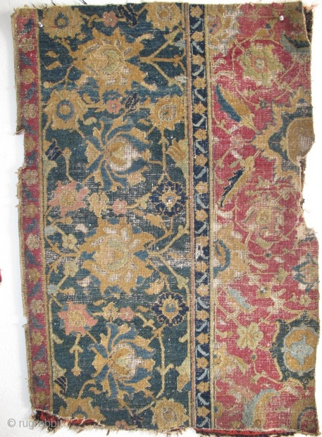 "17th Century Indo-Esfahan Fragment with several greens and lac. 2'6""x3'7"" / 76x109cm"