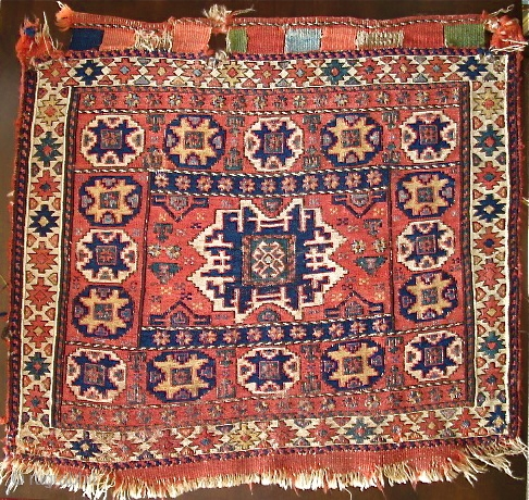 "Shahsevan Sumak Bagface with a Leshghi Star Design, Old, Colorful, Thin, Beautiful. Difficult to accurately photograph. a small bit of silver thread in the center. 24""x26"""