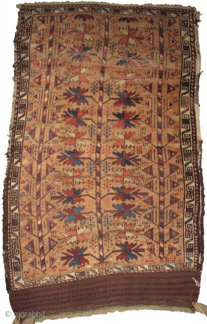 Camel-Ground Baluch Tree Rug with a central classic type Baluchi tree flanked by two more geometric tree forms and interspersed with a third type of smaller tree throughout the branches. Great drawing  ...
