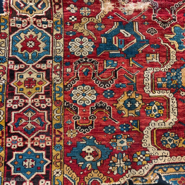 Detail from a so-called 'Golden Triangle' group carpet. Woven arguably in either Northwest Persia or Eastern Anatolia at a time when the border between these two areas was more fluid, circa 1700? Sourced  ...